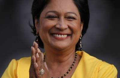 Opposition leader Kamla Persad-Bissessar speaks during the closing campaign rally of the United National Congress (UNC) political alliance ahead of parliamentary elections in Port of Spain May 22, 2010. Trinidad and Tobago will hold general elections on Monday 24. REUTERS/Jorge Silva (TRINIDAD AND TOBAGO - Tags: POLITICS ELECTIONS)