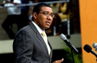 Andrew Holness at Podium