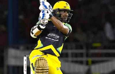 4 July 2016; Kumar Sangakkara of Jamaica Tallawahs hits a 6 during Match 7 of the Hero Caribbean Premier League between Trinbago Knight Riders and Jamaica Tallawahs at Queen's Park Oval, in Port of Spain, Trinidad. Photo by Randy Brooks/Sportsfile