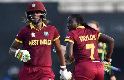 West Indies's Hayley Matthews(L)and captain Stafanie Taylor run between the wickets during the World T20 cricket tournament women's final match between Australia and West Indies at The Eden Gardens Cricket Stadium in Kolkata on April 3, 2016.   / AFP / INDRANIL MUKHERJEE        (Photo credit should read INDRANIL MUKHERJEE/AFP/Getty Images)