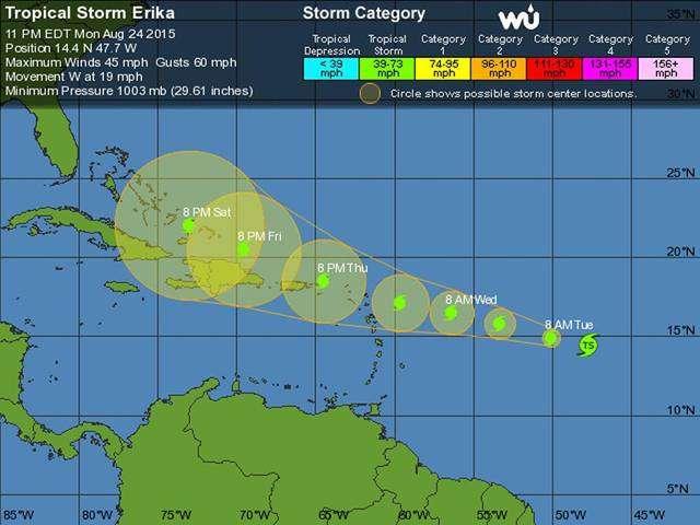 Erika Drifts Towards Caribbean