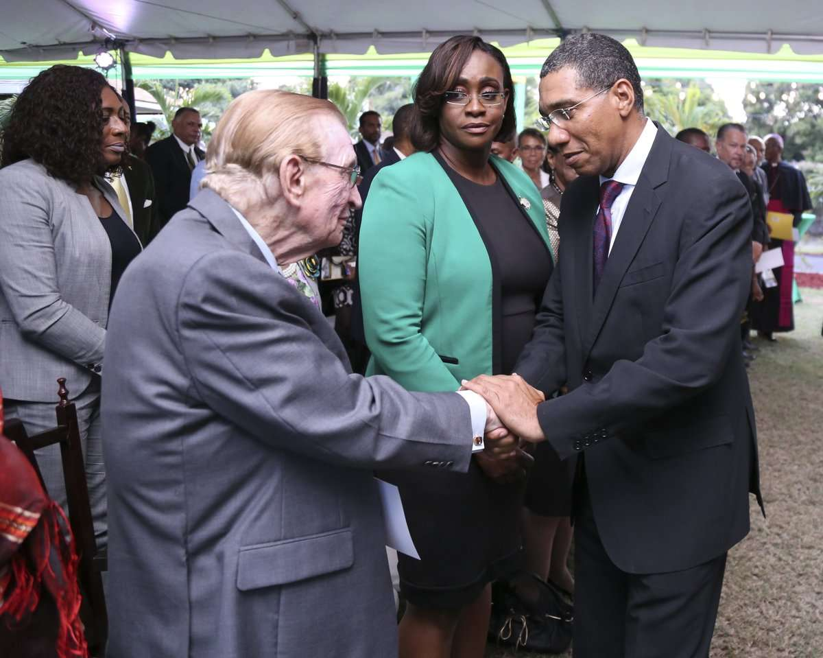 Holness Meets With Seaga, Says He's In 'Positive Spirits'