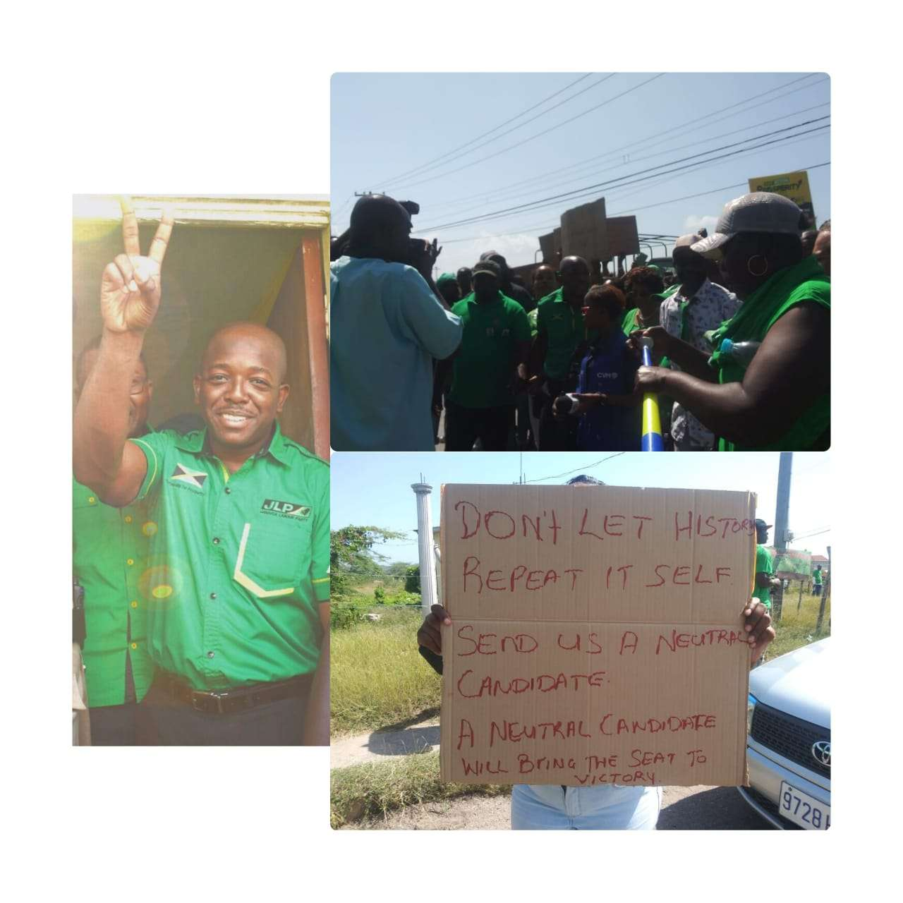 JLP Supporters Protest Robert Morgan At Charles Jr's Nomination Day Event