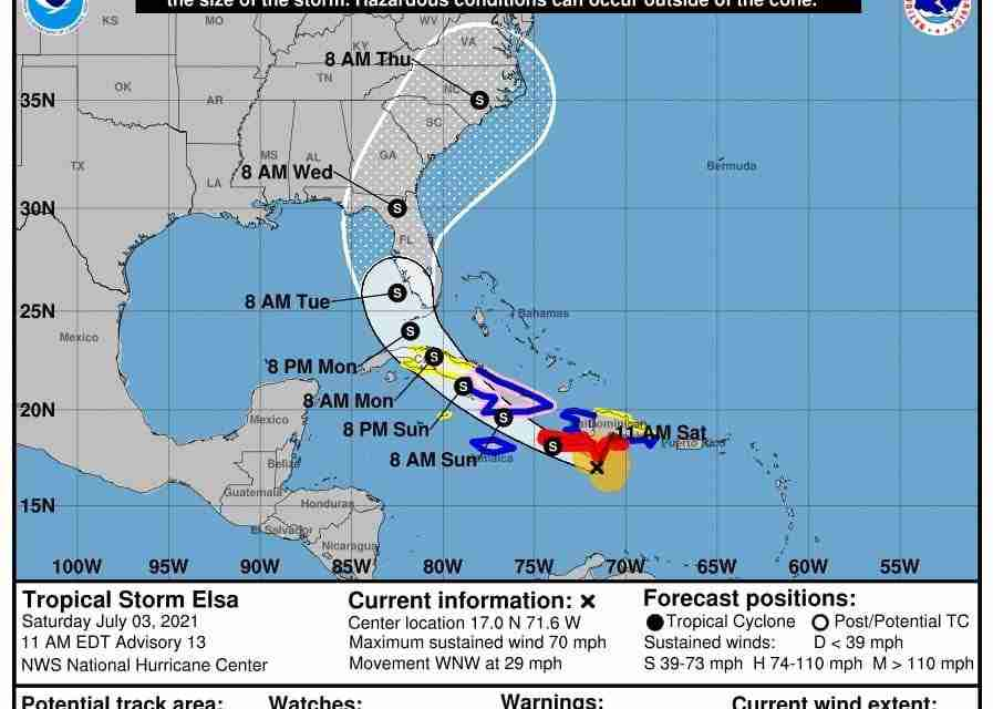 Hurricane Warning for Jamaica Downgraded To A Tropical Storm Warning